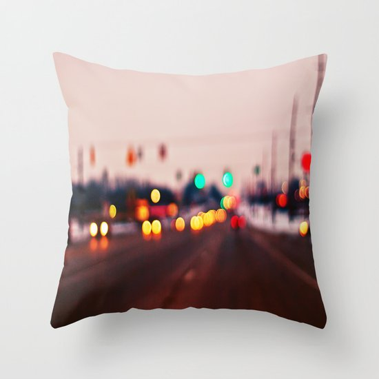 City Lights Bokeh Throw Pillow