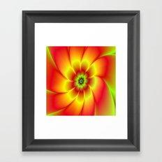 Red Yellow Green and Orange Flower Framed Art Print