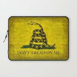 Gadsden Don't Tread On Me Flag - Worn Grungy Laptop Sleeve