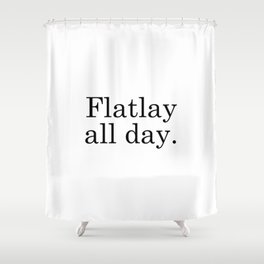 Flatlay All Day - White Shower Curtain