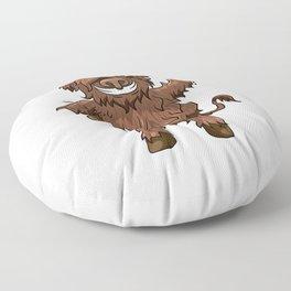Happy Highland Cow Kawaii Cartoon Style Floor Pillow