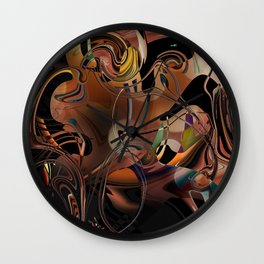 Deception copper gold brown Lines tangled design pattern Wall Clock