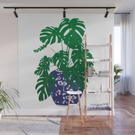 Chinoiserie Ginger Jar and Monstera Plant | Chinese Ginger Jar | Blue and White Ginger Jar | Blue and White Pottery | Wall Mural