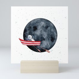 Sail to the Moon Watercolor Astronaut Art Print | White Background Mini Art Print