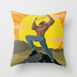 african slave breaking chains in the mountains Throw Pillow