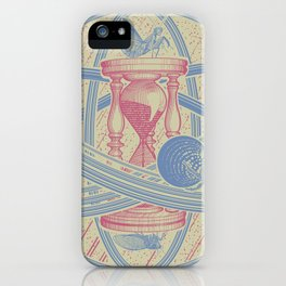 Time Infinity System. Orbit, sandglass, scarab, cicada, mantis. Engraving illustration. Part 1. iPhone Case