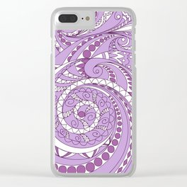 zen tangled swirl pattern 1 on the violet Clear iPhone Case