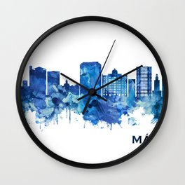 Malaga Andalusia Skyline Blue Wall Clock
