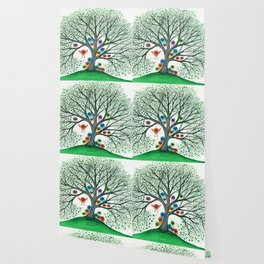Teton Owls in Tree Wallpaper