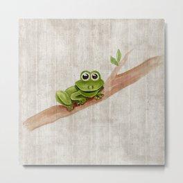 Little Frog, Forest Animals, Woodland Critters, Tree Frog Illustration Metal Print