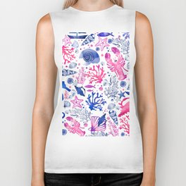 Hand painted blush pink blue watercolor nautical sea pattern Biker Tank