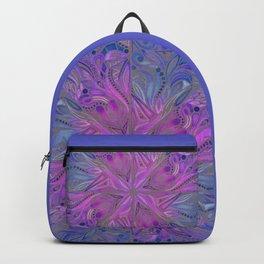 Triangles Mandala - Indigo on Gray Backpack