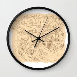 Medieval Fantasy Map Drawing Wall Clock