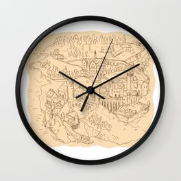 Medieval Fantasy Map Drawing Wall Clock