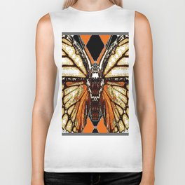 RIBBED WHITE BROWN & BLACK BUTTERFLY WING VEINS Biker Tank