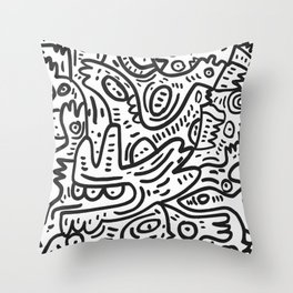 Graffiti Black and White Monsters are waiting for Halloween Throw Pillow