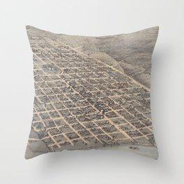 Vintage Pictorial Map of Austin Texas (1873) Throw Pillow