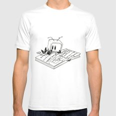 Computer Research MEDIUM White Mens Fitted Tee