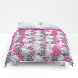 Chantilly Valentine Leopard Hearts Hot Pink Gray Comforters