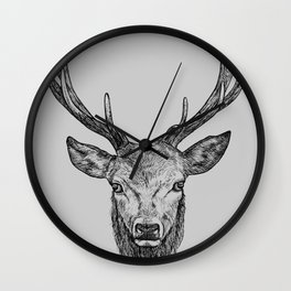 Scottish Stag, pen and ink illustration, black and grey Wall Clock