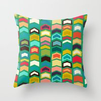 green arrow Throw Pillows featuring arrow pop green by Sharon Turner