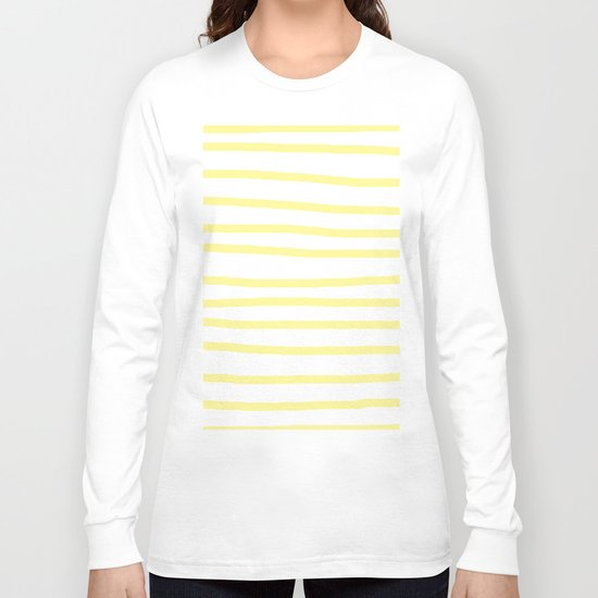 Simply Drawn Stripes in Pastel Yellow Long Sleeve T-shirt