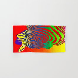Colorful Psychedelic Rainbow Zebra Hand & Bath Towel