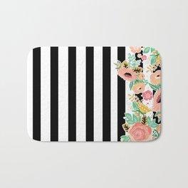 Striped Floral Pattern Bath Mat