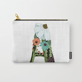 Floral Letter A Carry-All Pouch