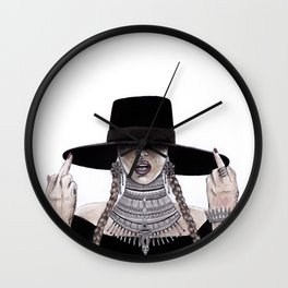 Middle fingers up watercolour painting Wall Clock