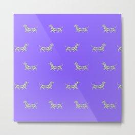 Colorful Swirl Dachshund Print in Neon Purple and Yellow Metal Print