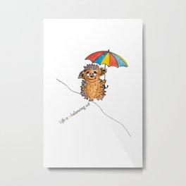 Hedgehog with umbrella Metal Print