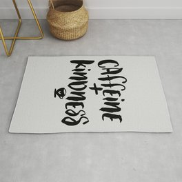 Caffeine and Kindness inspirational quote about coffee in black and white kitchen wall decor Rug