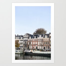 Colorful Dutch Canal Houses | City Amsterdam | The Netherlands | Europe | Travel Photography | Art Print | Boat | Building | Architecture  Art Print