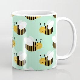Bee pattern print mint honey bees nature inspired cute nursery kids gender neutral pattern Coffee Mug