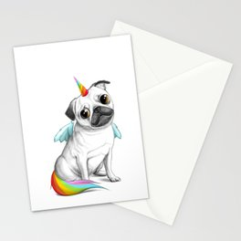 Pug unicorn Stationery Cards