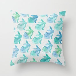 Watercolor Bunnies 1I by Kathy Morton Stanion Throw Pillow