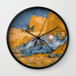 Noon, Rest from Work by Vincent van Gogh Wall Clock