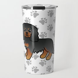 Cute Black And Tan Cavalier King Charles Spaniel Dog Cartoon Illustration Travel Mug