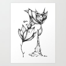 flower and bird Art Print