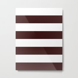 Wide Horizontal Stripes - White and Dark Sienna Brown Metal Print
