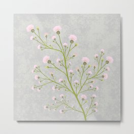 Pink Thistle Flower Illustration Metal Print