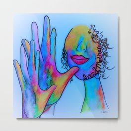 ASL Grandmother in Blue Overtones Metal Print