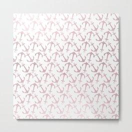 Blush pink white elegant faux rose gold nautical anchor Metal Print