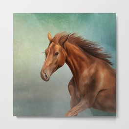 Drawing portrait horse Metal Print