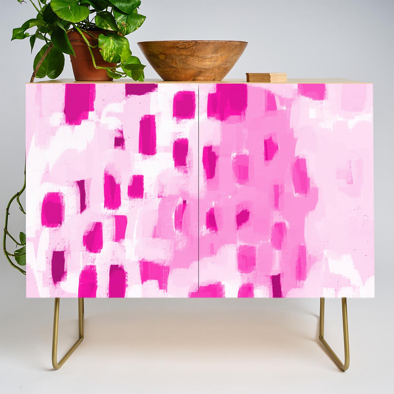 Zimta Pink Abstract Painting Dots Mark Making Canvas Art Decor Credenza