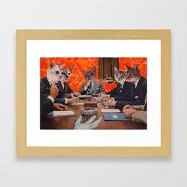 Cats have an agenda Framed Art Print