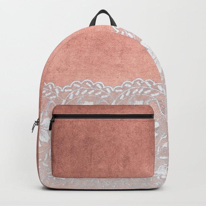 White floral luxury lace on pink rosegold grunge backround Backpack