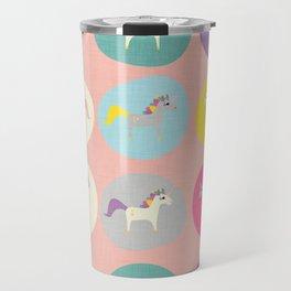 Cute Unicorn polka dots pink pastel colors and linen texture #homedecor #apparel #stationary #kids Travel Mug