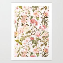 Vintage & Shabby Chic - Pink Sepia Summer Flowers Kunstdrucke